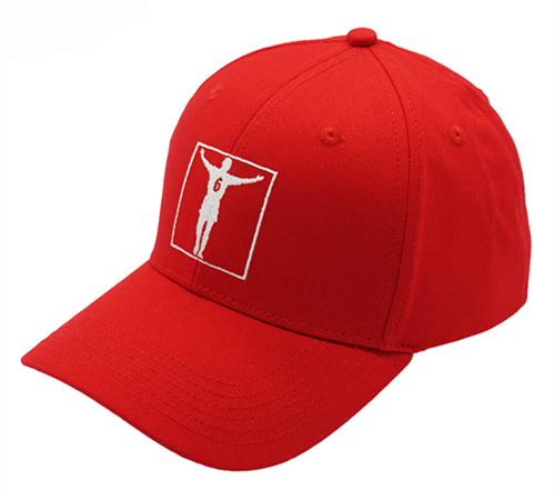 Red cotton 6 panel high profile baseball cap-2