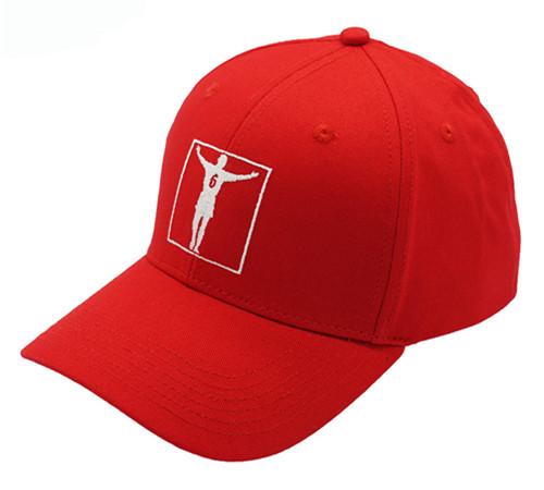 Red cotton 6 panel high profile baseball cap-2