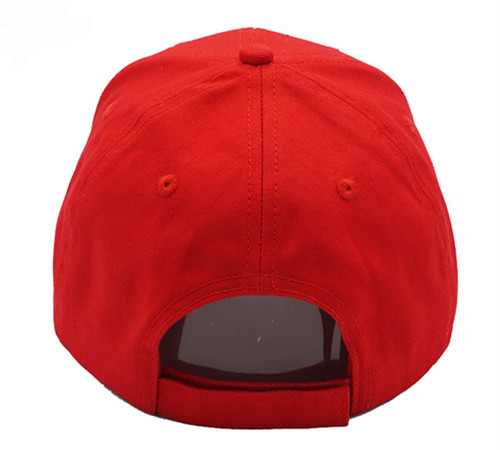 Red cotton 6 panel high profile baseball cap-3
