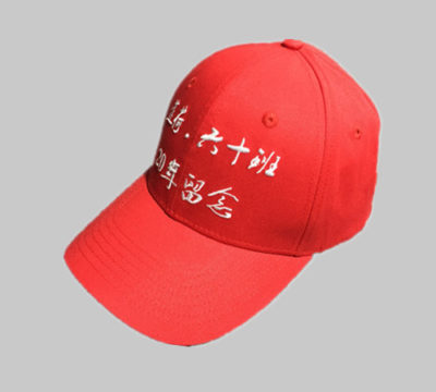 Red cotton 6 panel high profile baseball cap..